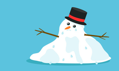 Cuite sad melting snowman with hat and tears in flat cartoon style, isolated on blue background. Vector EPS 10 illustration