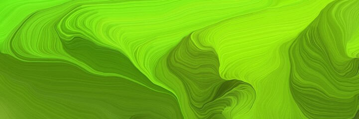futuristic wave motion speed lines background or backdrop with dark green, lawn green and green yellow colors. good for design texture Wall mural