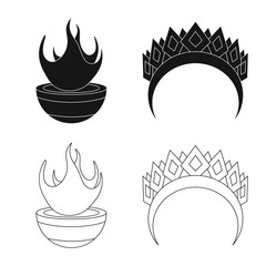 Isolated object of deity and antique icon. Collection of deity and myths stock symbol for web.