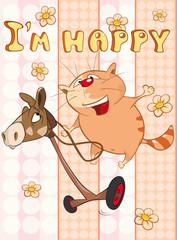 Foto auf Leinwand Babyzimmer Happy Birthday Card Cute Cartoon Character Cat . Vector Greeting Card. Happy Moment. Congratulation
