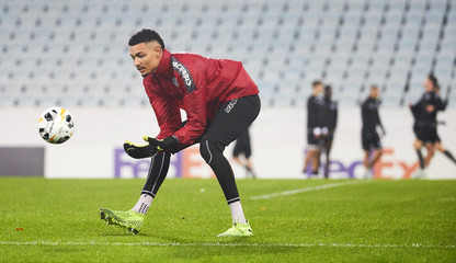 FC Lugano goalkeeper Noam Baumann in action during a training session at Malmo Stadium