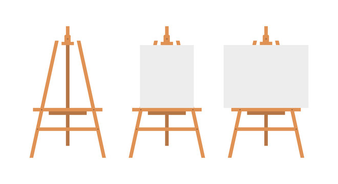 Vector Set of Brown Sienna Wooden Easels with Mock Up Empty Blank Canvases Isolated on Background Paint Desk and White Paper Isolated On Background. Vector illustration Web site page and mobile app.