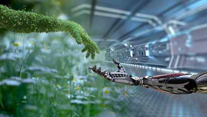 Fototapeta Green technology conceptual design, human arm covered with grass and lush and robotic hand, 3d render obraz