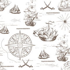 Tuinposter Schip Vector abstract seamless background on the theme of travel, adventure and discovery. Old hand drawn map with vintage sailing yachts, wind rose, routs, nautical symbols and handwritten inscriptions
