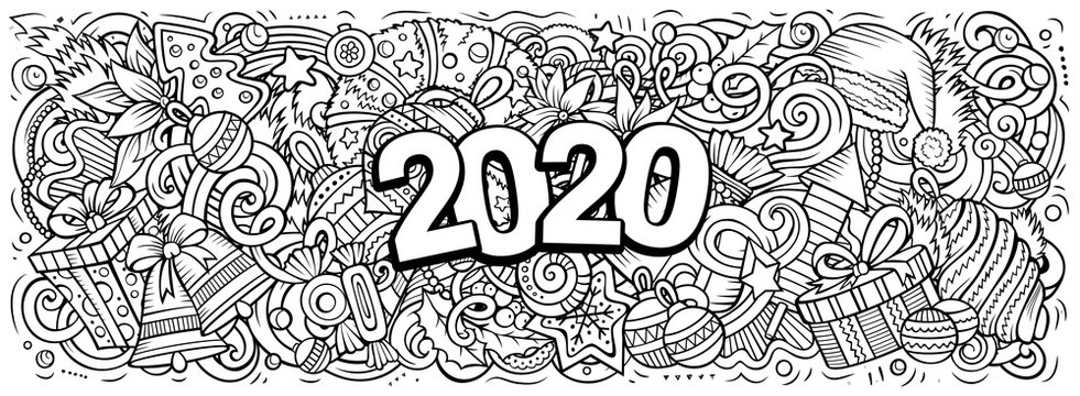 2020 hand drawn doodles illustration. New Year objects and elements design