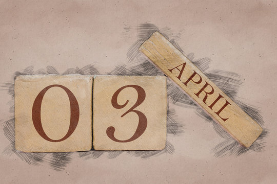 april 3rd. Day 3 of month, calendar in handmade sketch style. pastel tone. spring month, day of the year concept