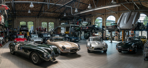 Panoramic view of the workshop for the repair and maintenance of English classic retro cars on May 01, 2019 in Berlin, Germany.