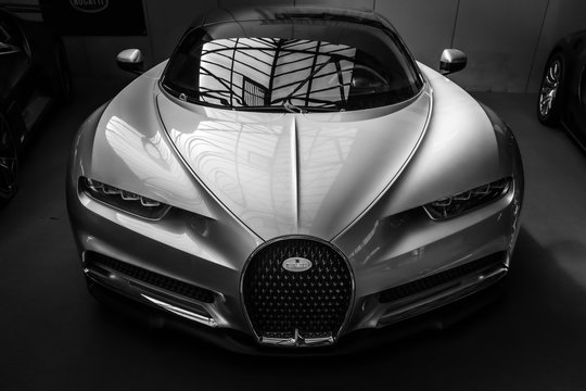 BERLIN - MAY 11, 2019: A sports car Bugatti Chiron, 2017 on May 01, 2019 in Berlin, Germany. Black and white.