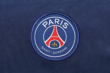 BANGKOK, THAILAND -OCTOBER 3: the logo of Paris Saint Germain football club on an official jersey