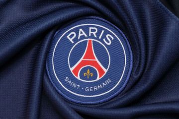 BANGKOK, THAILAND -OCTOBER 3: the logo of Paris Saint Germain football club on an official jersey