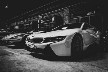 Plug-in hybrid sports car BMW i8 on May 01, 2019 in Berlin, Germany. Black and white, stylization.