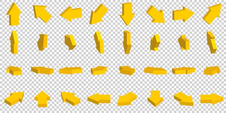 3d yellow arrow on white background