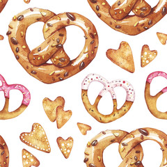 Pretzels hearts. St. Valentine day. Seamless pattern. Love. Food. Perfect for greetings, invitations, manufacture wrapping paper, textile and web design. Watercolor seamless pattern.