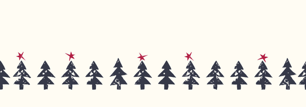 Christmas Rustic Festive Hand-Stamped Fir Trees and Stars Vector Seamless HorizontalBorder Pattern