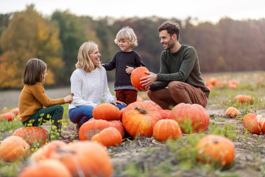 Happy young family in pumpkin patch field
