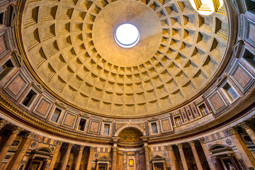 Dome Pillars Altar Wide Pantheon Rome Italy