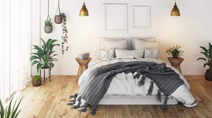 Interior luxury design. Modern Bedroom. 3d rendering
