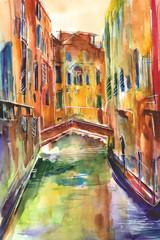 Fototapeta Obraz malowany recznie akwarelą przedstawiający kanał z gondolą w Wenecjii