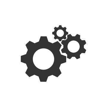 Cogwheel group black vector icon. Gear set simple glyph web symbol.