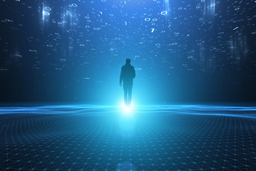 Man walks in artificial intelligence computer network cyberspace.