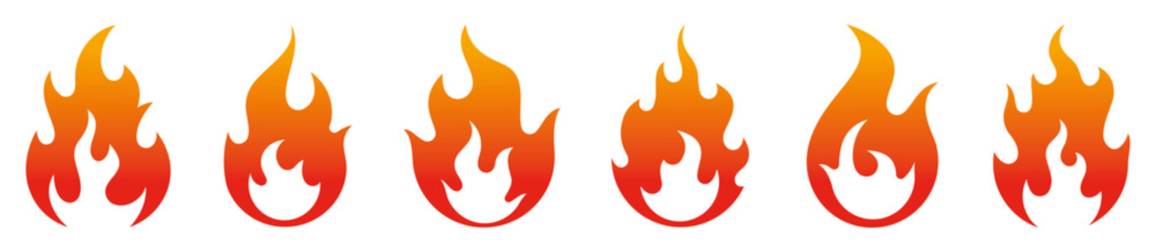 Fire flames icons collection. Vector
