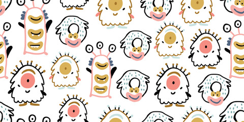 Kids seamless pattern with colorful cute monsters