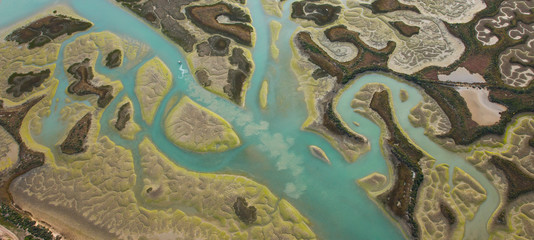 Odiel river, Aerial view, marshlands, Bahia de Cadiz Natural Park. Costa de la Luz, Cadiz province, Andalucia, Spain