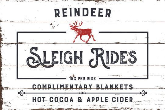 Reindeer Sleigh Rides Sign with Shiplap Design