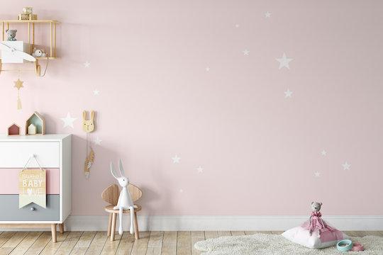 Kids Wall mock up. Kids interior. Scandinavian interior. 3d rendering, 3d illustration