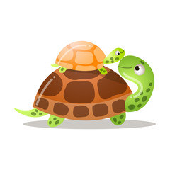 Cute turtle is standing with a baby. Vector illustration isolated on white background