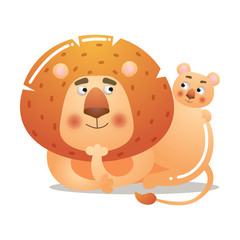 A cute lion is lying with a baby. Vector illustration isolated on white background