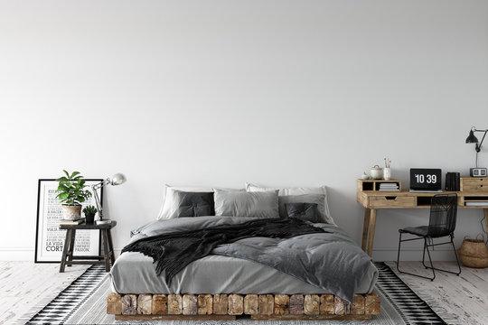 Wall mock up in living room. Scandinavian interior. 3d rendering, 3d illustration
