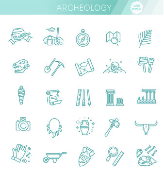 archeology line icons set. Archeology collection