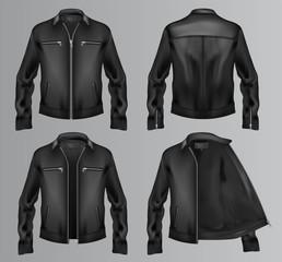 Black fur jacket vector. Four different views