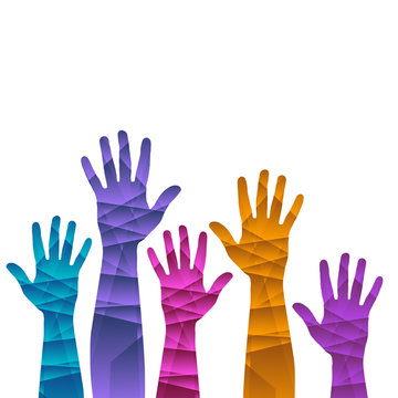 A hands up background ilustration template in rainbow colors.