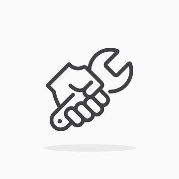 Wrench in hand icon in line style.