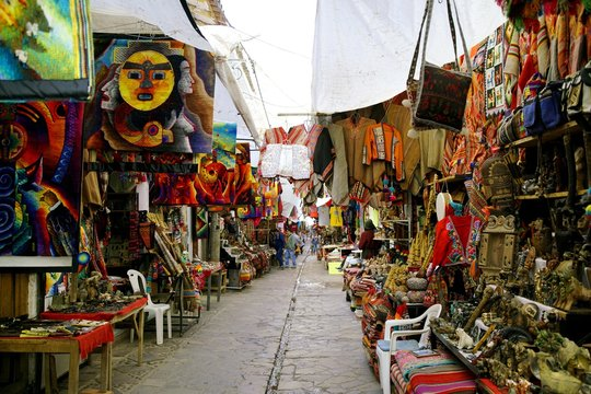 colorful market of Pisac in the Andes of Peru