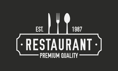 Restaurant luxury logo. Restaurant logo template with spoon, fork and knife. Vector illustration