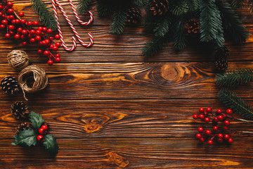 Wall Mural - Cristmas background with traditional decor elements
