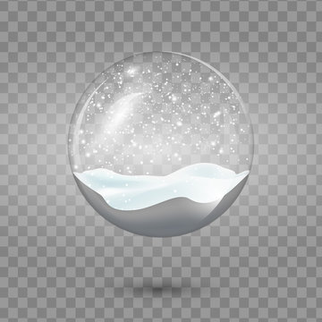 Christmas vector snowglobe isolated on transparent background. Realistic traditional winter holiday decoration crystal with falling snow, snowflakes inside. Xmas magical toy, empty sphere.