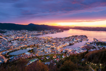 Beautiful view of Bergen city at twilight