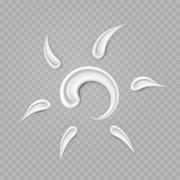 Sun hand drawn smear isolated on transparent background. Cream texture stroke or skin spf protection icon. Vector summer solar cosmetic product swatch.