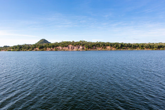Panoramic view of Rio Tapajos in sunny summer day with rainforest, hills and beaches in Alter do Chao village, Pará, Brazil. Travel, amazon, vacation, adventure, environment and conservation concept.