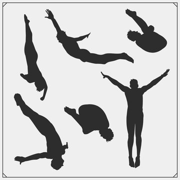 Cliff diving sport emblems, labels and design elements. Diving sport club logos and templates. Divers silhouettes.
