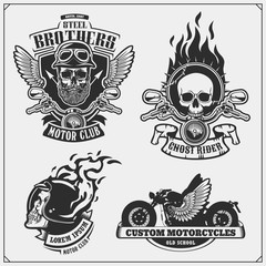 Collection of motorcycle club labels, emblems, badges and design elements. Vintage style. Print design for t-shirt.