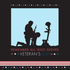 Veteran's Day Remember All Who Served Soldier Kneeling Boots Rifle Helmet of Fallen Silhouette Isolated with American Flag USA