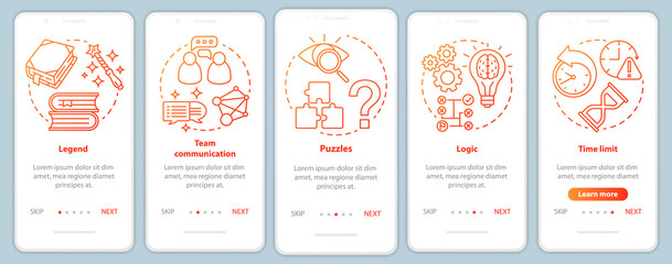 Escape room red gradient onboarding mobile app page screen with linear concepts. Quest game. Team communication. Walkthrough steps graphic instructions. UX, UI, GUI vector template with illustrations