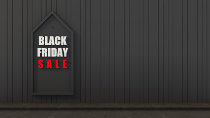 Black friday wall background for sale / 3D rendering interior