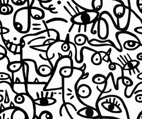Black and white pattern.Seamless background, texture.
