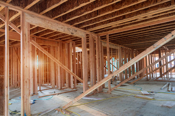New construction of beam construction house framed the ground up